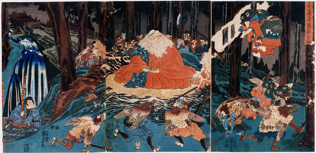 Ushiwakamaru sparring with tengu. By Utagawa Kuniyoshi.